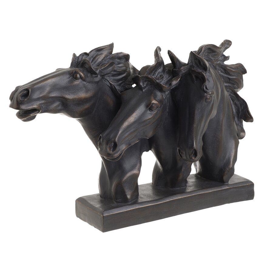 Decoratiune rasina Black Horses, 44x12x28