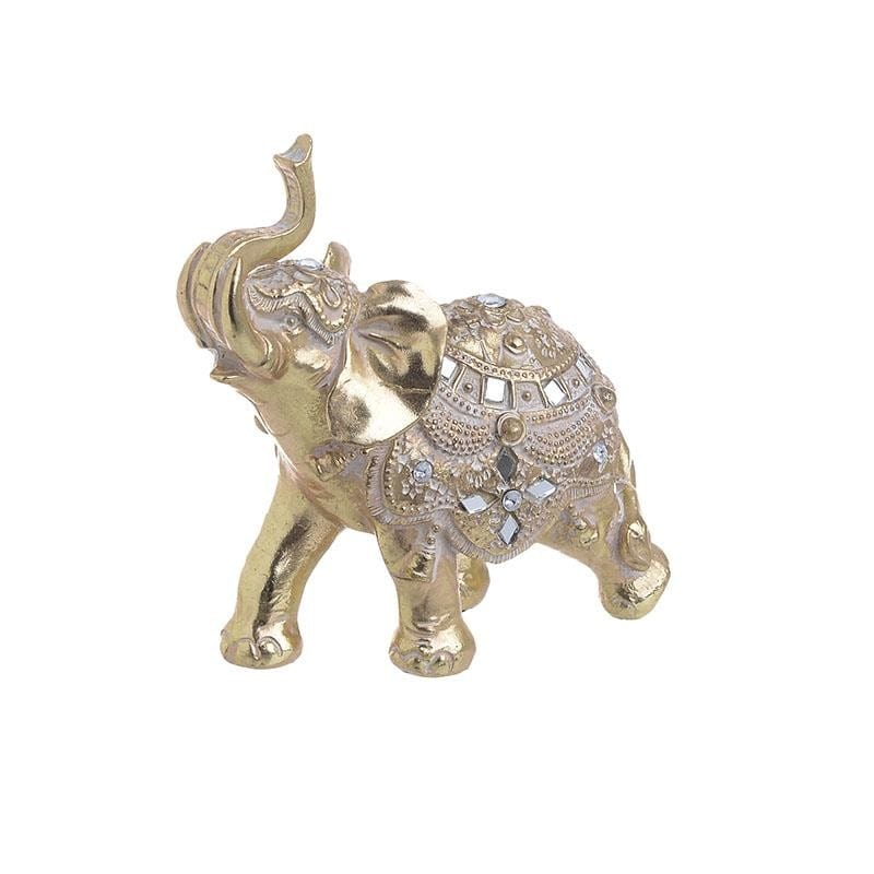 Elefant decorativ Golden Tusker, Rasina, 13x7x14